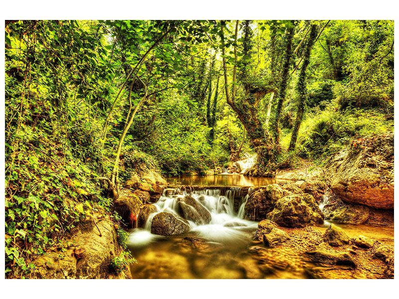 Klebeposter Wasserfall im Wald