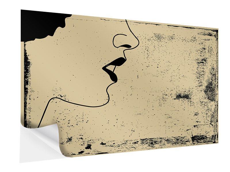 Klebeposter Frauenportrait im Grungestil