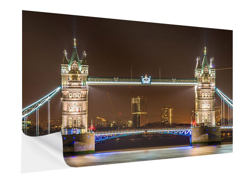 Klebeposter Tower Bridge bei Nacht