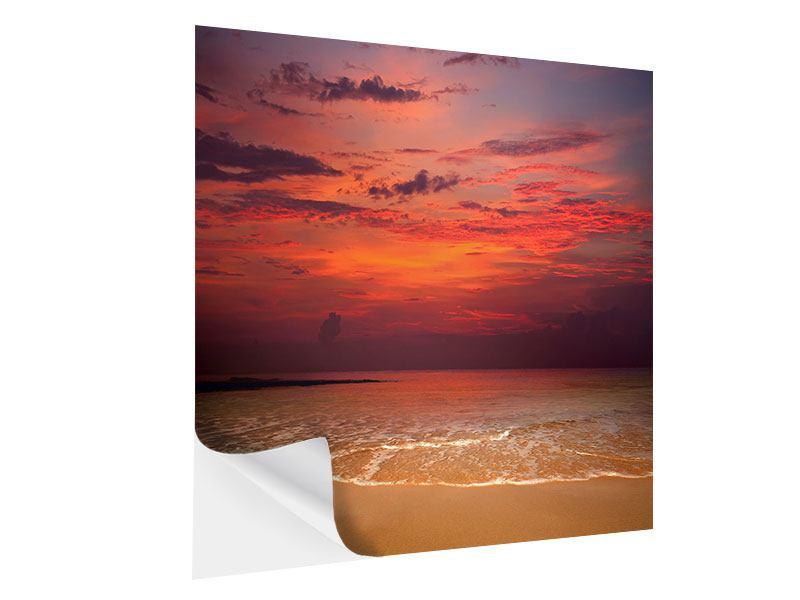 Klebeposter Zeile auf den Sand