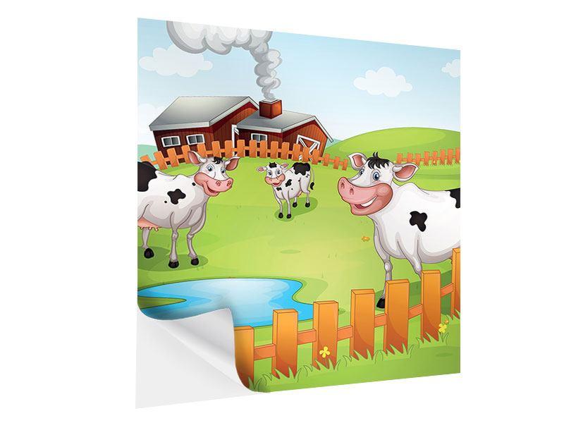 Klebeposter Die lustigen Kühe