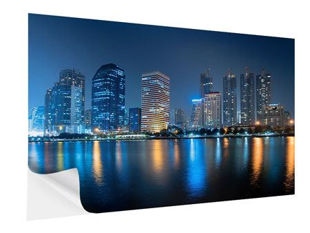 Klebeposter Skyline Bangkok bei Nacht