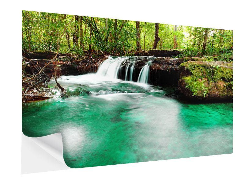 Klebeposter Der Fluss am Wasserfall