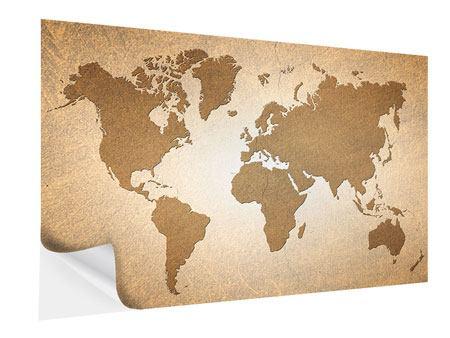 Klebeposter Karte der Welt in Vintage