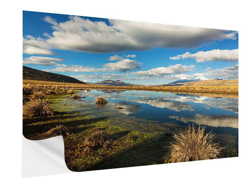 Klebeposter Wasserspiegelung am See