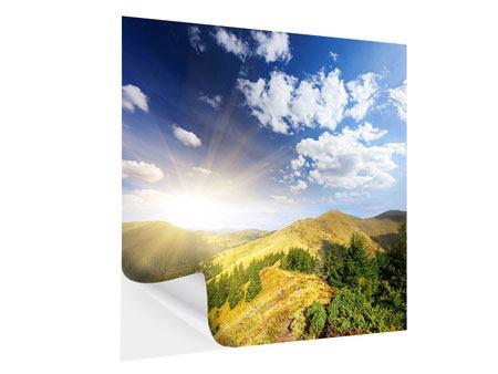 Klebeposter Sonnenaufgang im Gebirge