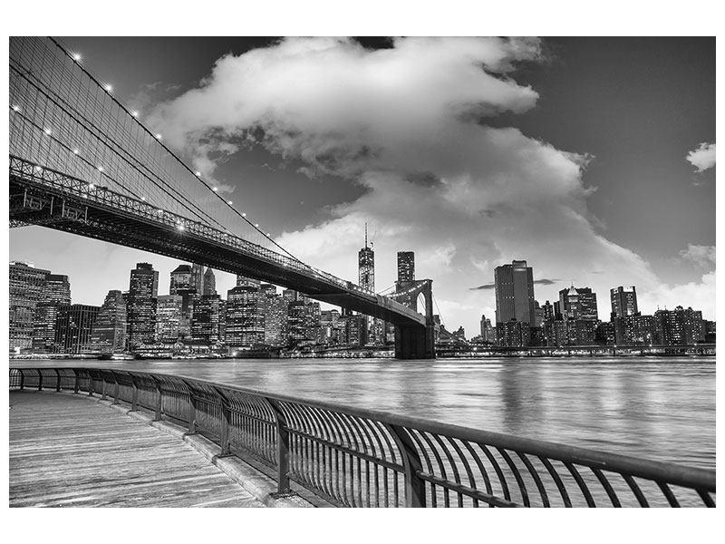 Klebeposter Skyline Schwarzweissfotografie Brooklyn Bridge NY