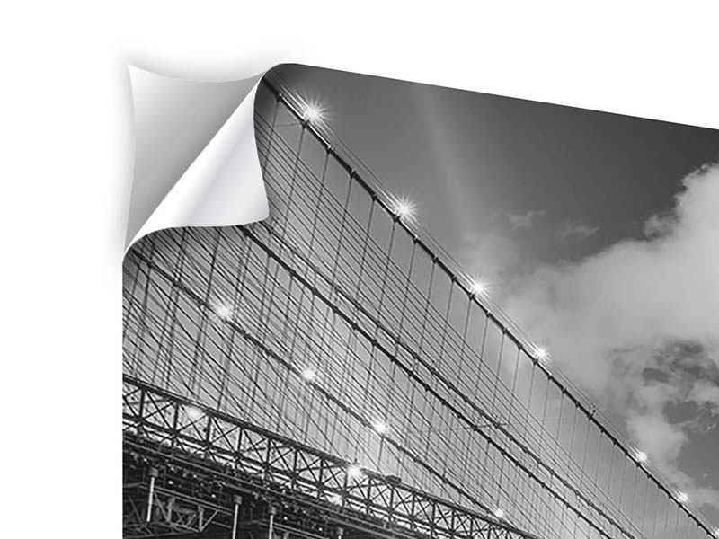 Self-Adhesive Poster Skyline Black And White Photography Brooklyn Bridge NY