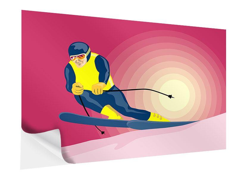 Klebeposter Retro-Skifahrer