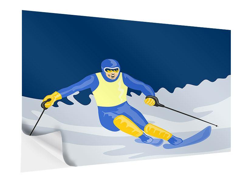 Klebeposter Skifahrer im Retrostyle