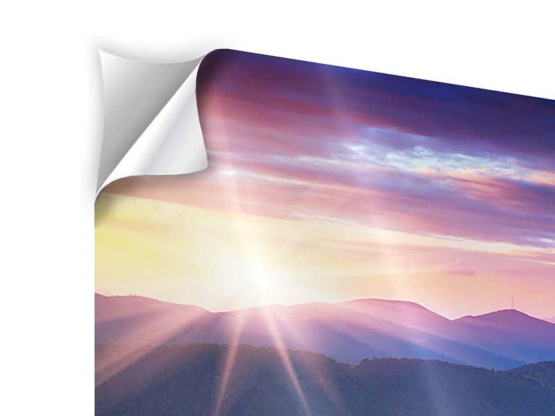 Klebeposter Sonnenuntergang in der Bergwelt
