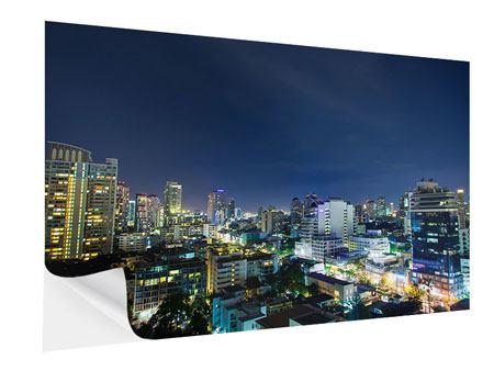 Klebeposter Skyline Nachts in Bangkok