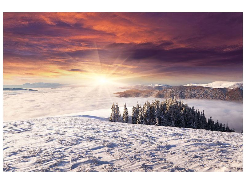 Klebeposter Sonnenaufgang Winterlandschaft