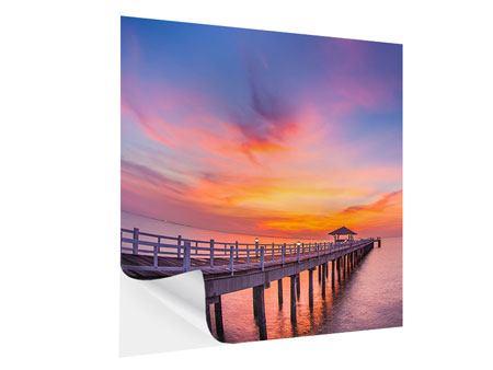 Klebeposter Die romantische Brücke bei Sonnenuntergang