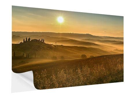 Klebeposter Sonnenuntergang im Gebirge
