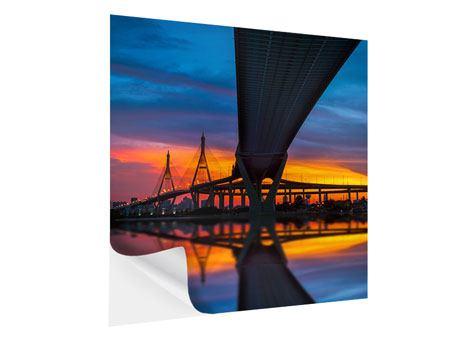 Klebeposter Bhumiboll-Brücke bei Sonnenuntergang