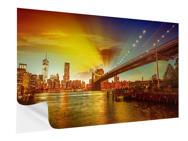 Klebeposter Skyline Brooklyn Bridge NY