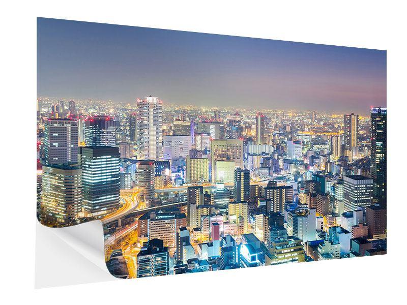 Klebeposter Skyline Osaka bei Sonnenuntergang