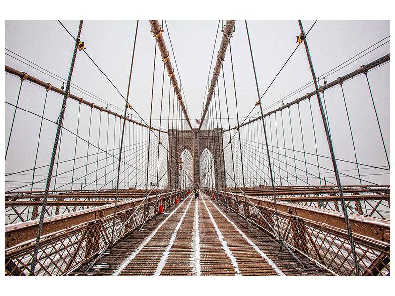 Klebeposter Auf der Brooklyn Bridge