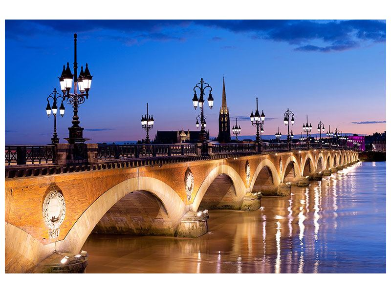 Klebeposter Pont De Pierre bei Sonnenuntergang