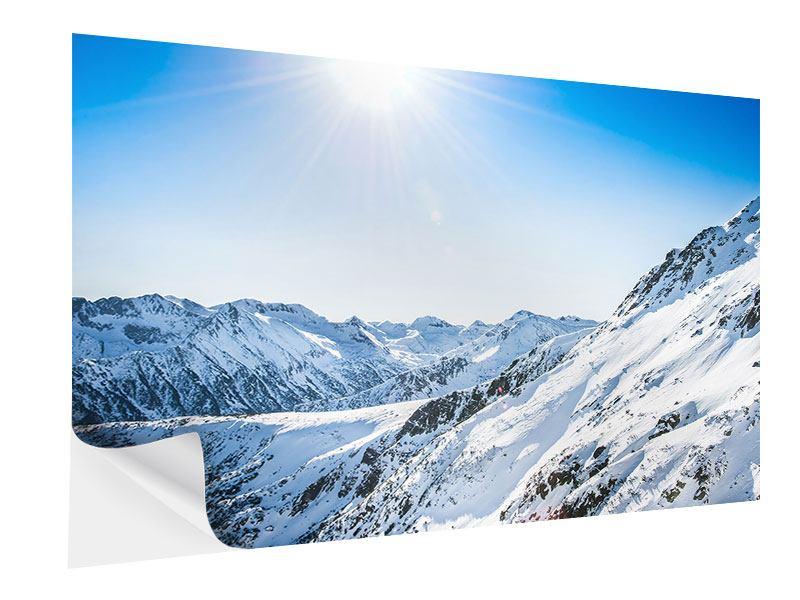 Klebeposter Bergpanorama im Schnee