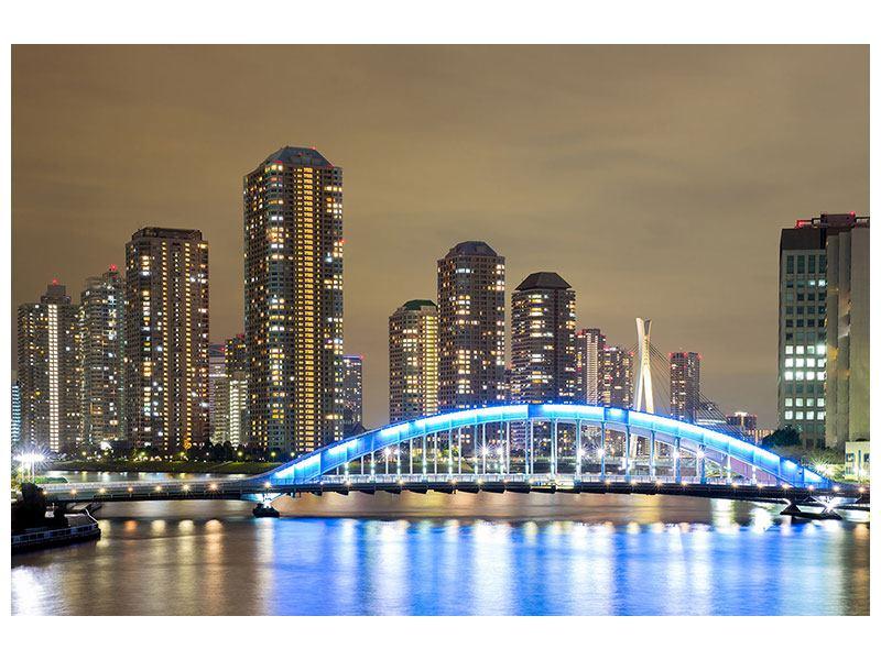 Klebeposter Skyline Tokio in der Nacht