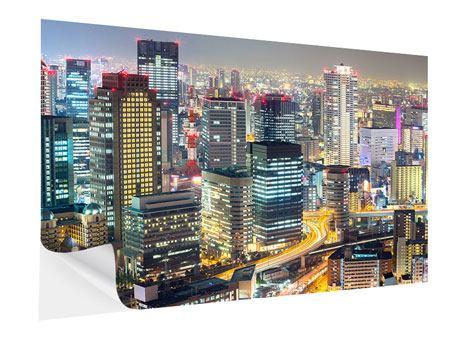 Klebeposter Skyline Osaka im Lichtermeer