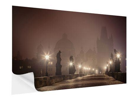 Klebeposter Die Karlsbrücke bei Nacht