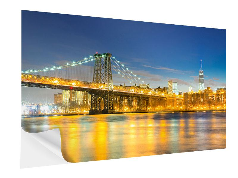 Klebeposter Brooklyn Bridge bei Nacht