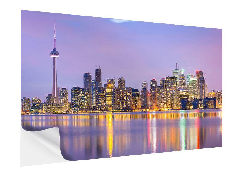Klebeposter Skyline Toronto bei Nacht