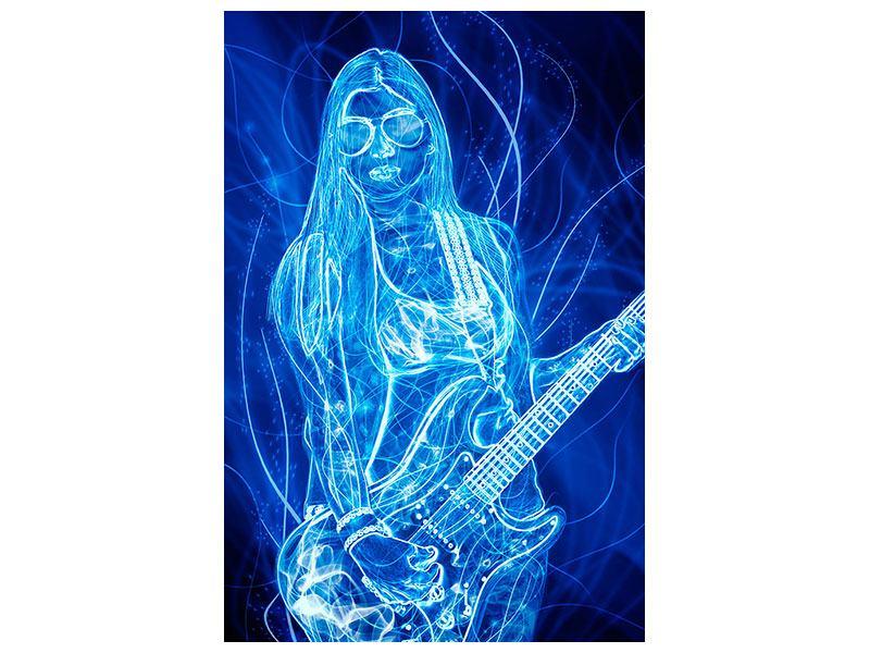 Klebeposter Leuchtende Gitarristin