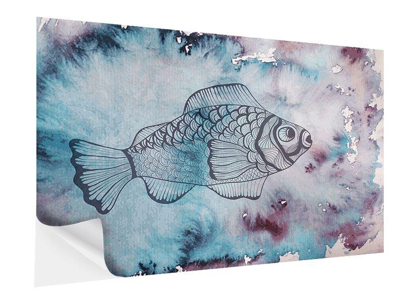 Klebeposter Fisch-Aquarell