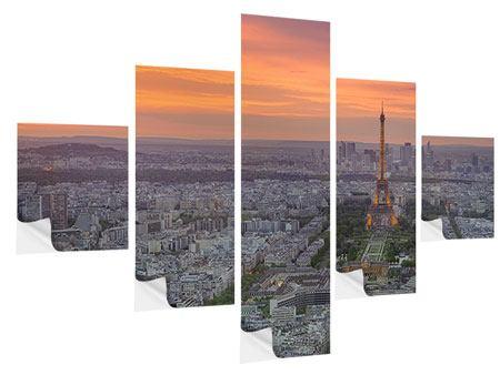 Klebeposter 5-teilig Skyline Paris bei Sonnenuntergang