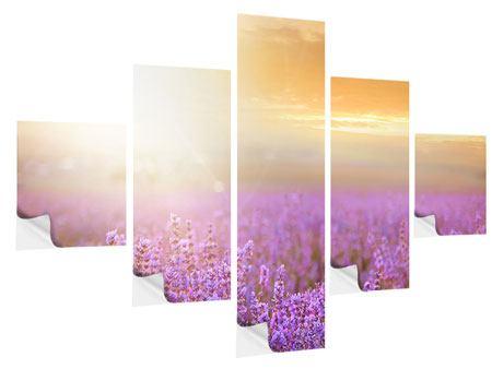 Klebeposter 5-teilig Sonnenuntergang beim Lavendelfeld