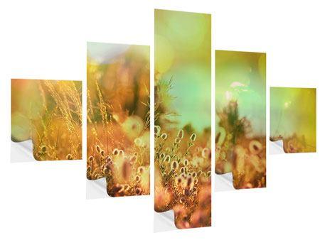 Klebeposter 5-teilig Blumenwiese in der Abenddämmerung
