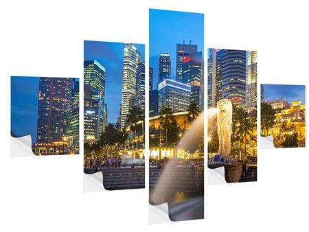 Klebeposter 5-teilig Skyline Singapur im Lichtermeer