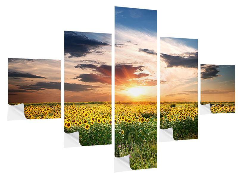 Klebeposter 5-teilig Ein Feld von Sonnenblumen
