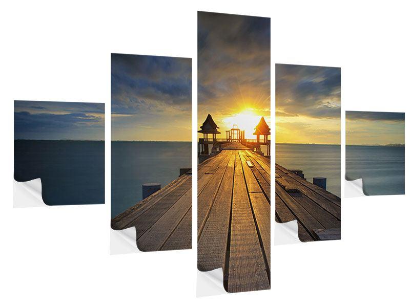 Klebeposter 5-teilig Der Sonnenuntergang bei der Holzbrücke