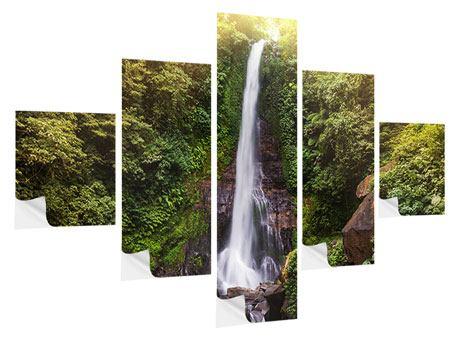 Klebeposter 5-teilig Wasserfall Bali