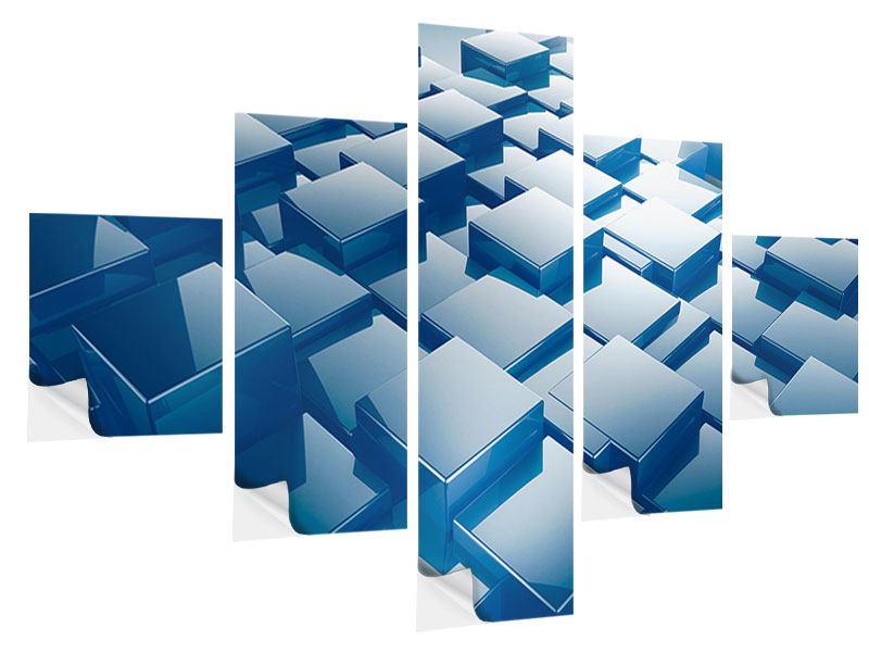 Klebeposter 5-teilig 3D-Cubes