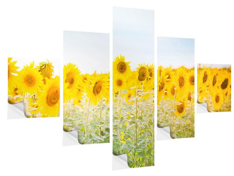 Klebeposter 5-teilig Im Sonnenblumenfeld
