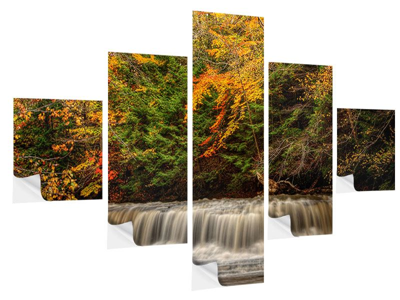 Klebeposter 5-teilig Herbst beim Wasserfall