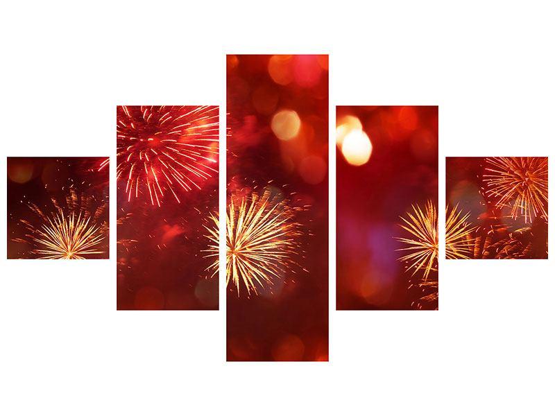 Klebeposter 5-teilig Buntes Feuerwerk