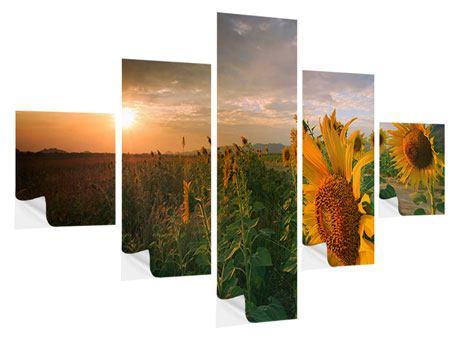 Klebeposter 5-teilig Sonnenblumen im Lichtspiel