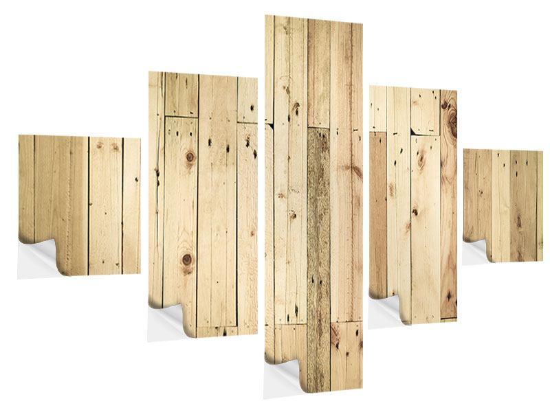 Klebeposter 5-teilig Holzpaneelen