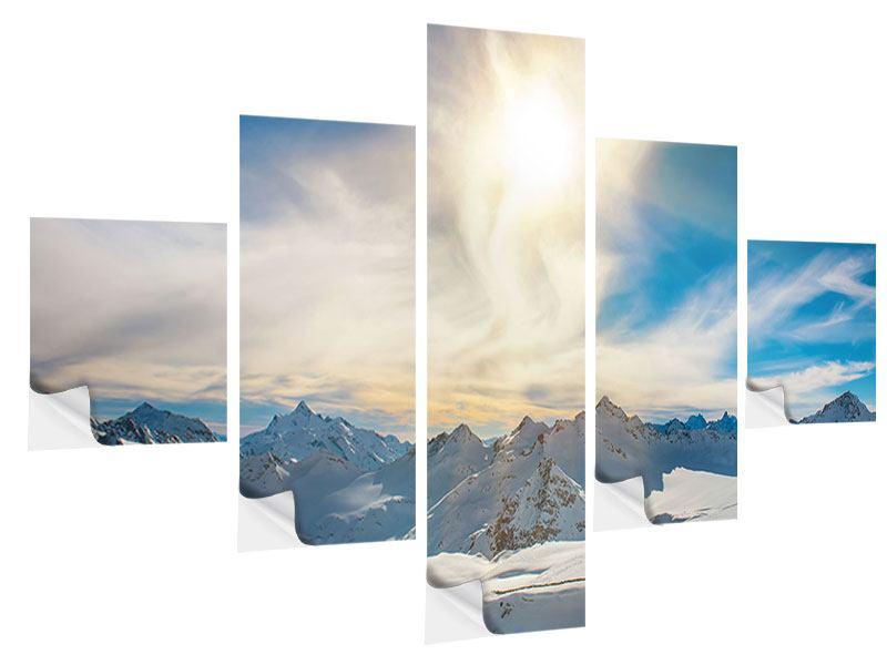 Klebeposter 5-teilig Über den verschneiten Gipfeln