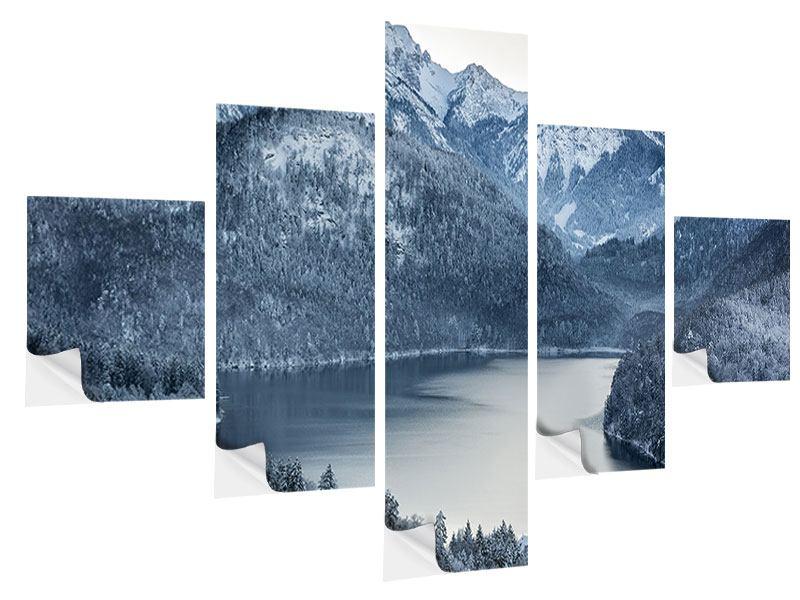 Klebeposter 5-teilig Schwarzweissfotografie Berge