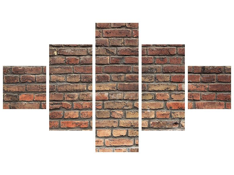 5 Piece Self-Adhesive Poster Brown Brick Wall