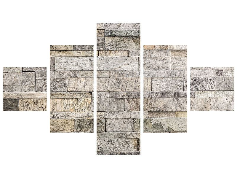 Klebeposter 5-teilig Elegante Steinmauer