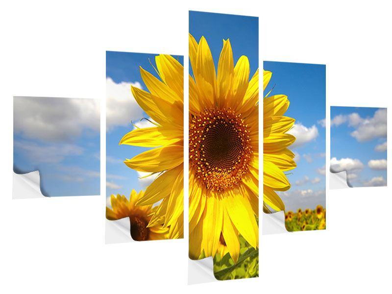 Klebeposter 5-teilig Das Feld der Sonnenblumen